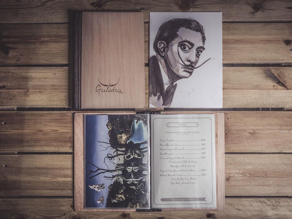 Ilustracion y Encuadernacion Carta Restaurante Galatea en Huesca